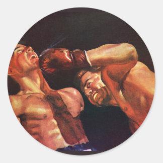 Vintager Sport, Boxer in einer Boxveranstaltung Runder Aufkleber