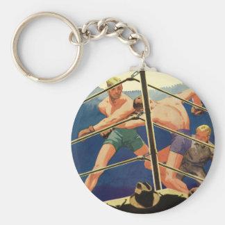 Vintager Sport, Boxer in einer Boxveranstaltung Standard Runder Schlüsselanhänger