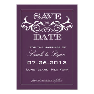 Vintager Strudel-lila Save the Date Mitteilung