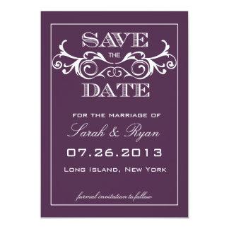 Vintager Strudel-lila Save the Date Mitteilung 12,7 X 17,8 Cm Einladungskarte