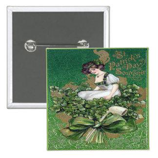 Vintager Tag 16 St. Patricks Quadratischer Button 5,1 Cm