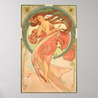 Vintager Tanz durch Alphonse Mucha Poster