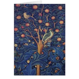 Vintager Tapisserie-Vogel-Blumenentwurfs-Specht Karte