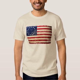 Vintager Tattered amerikanische Flaggen-T - Shirt