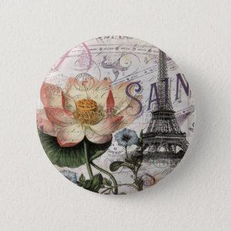 Vintager Turm Paris Eiffel der girly Lotos-Blume Runder Button 5,7 Cm