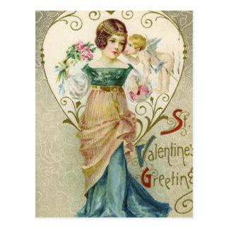 Vintager Valentine-Gruß mit Dame und Cherib Postkarte