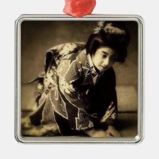 Vintager VerbeugungGeishaSepia tonte お辞儀 Japaner Silbernes Ornament