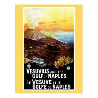 Vintager Vesuv-Golf italienischer Reise Neapels Postkarte
