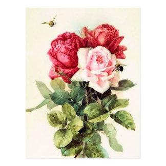 Vintager viktorianischer Rosen-Blumenstrauß Postkarte