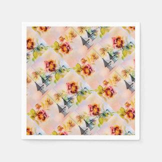 Vintager Vogelkäfig der Pansy-Blume Papierserviette