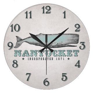 Vintager Wal Nantucket Massachusetts Inc. 1671 Große Wanduhr