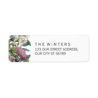 Vintager Watercolor-Blumenkunst-Hochzeit Rücksende Aufkleber