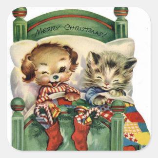 Vintager Weihnachtsfeiertags-Haustieraufkleber Quadratischer Aufkleber