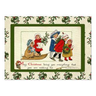 Vintager Weihnachtsgruß 14 X 19,5 Cm Einladungskarte
