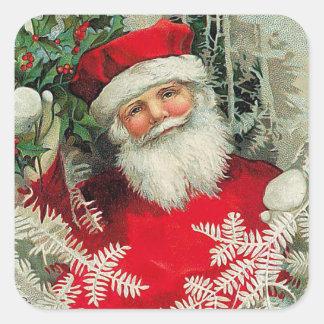 Vintager Weihnachtsmann Quadrat-Aufkleber