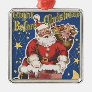 Vintager Weihnachtsmann, Twas Nacht vor Quadratisches Silberfarbenes Ornament
