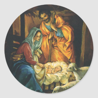 Vintager WeihnachtsNativity, Baby Jesus in der Runder Aufkleber