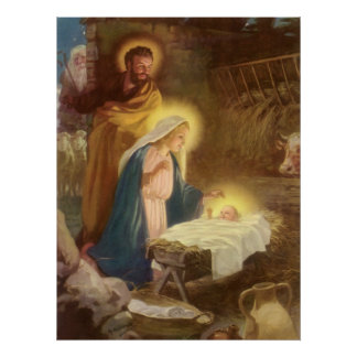 Vintager WeihnachtsNativity, Baby Jesus Marys Poster