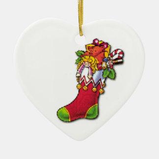Vintager WeihnachtsStrumpf voll der Spielwaren Keramik Ornament