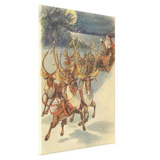 Vintager WeihnachtsweihnachtsmannSleigh mit Ren Leinwanddruck