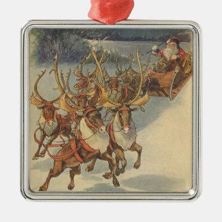 Vintager WeihnachtsweihnachtsmannSleigh mit Ren Quadratisches Silberfarbenes Ornament