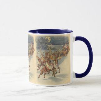 Vintager WeihnachtsweihnachtsmannSleigh mit Ren Tasse