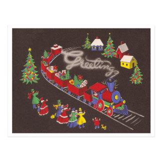 Vintager Weihnachtszug Postkarte