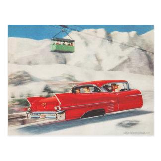 Vintager Wintersport, Auto und Standseilbahn Postkarte