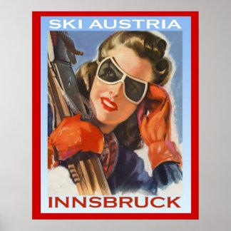 Vintager Wintersport Ski Österreich, Innsbruck Poster