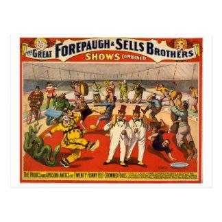 Vintager Zirkus Forepaugh u. Verkäufe Postkarten