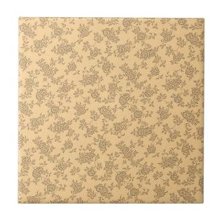 Vintager zwei Ton Brown und Sahneblumenmuster Kleine Quadratische Fliese