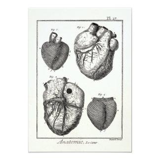 Vintages 1800s Herz-Retro Herzanatomie-Herzen 12,7 X 17,8 Cm Einladungskarte