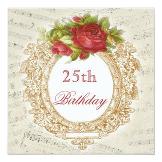 Vintages 25. Geburtstags-Rosen-Rahmen-Musik-Blatt Quadratische 13,3 Cm Einladungskarte