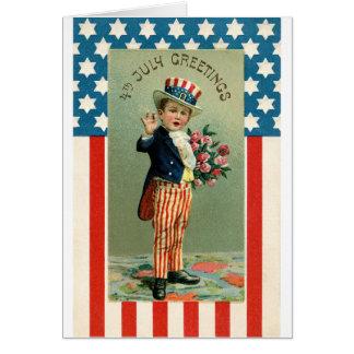 Vintages 4. Juli-jungen Uncle Sams Karte