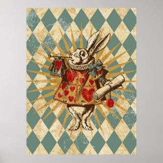 Vintages Alice-Weiß-Kaninchen Poster