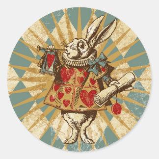 Vintages Alice-Weiß-Kaninchen Runder Aufkleber