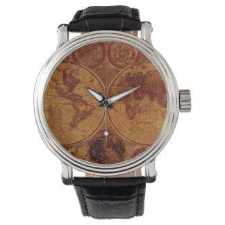 Vintages alte Weltkarte Geschichte-Büffelleder Uhr