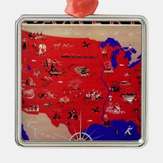 Vintages antikes Karten-USA, USA Silbernes Ornament