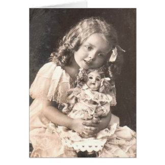 Vintages antikes Porträt eines Mädchens und ihrer Grußkarte