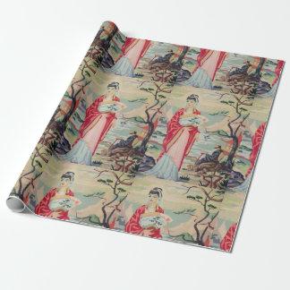 Vintages asiatisches Verpackungs-Papier der Geschenkpapier