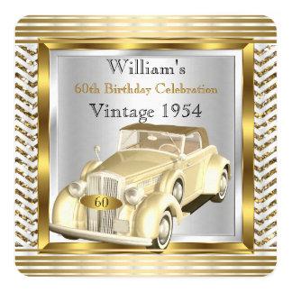 Vintages Auto bemannt 60. Quadratische 13,3 Cm Einladungskarte