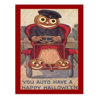 Vintages Auto Halloween Postkarte