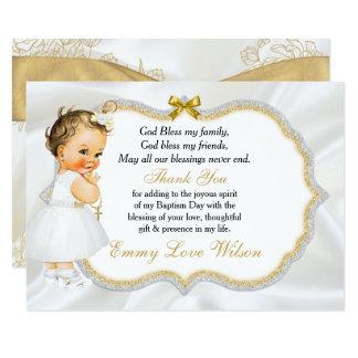 Vintages Baby-Mädchen-Taufe-Goldkreuz danken Ihnen Karte
