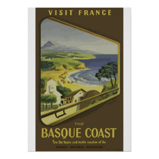 Vintages baskisches Küsten-Frankreich-Reise-Plakat Poster