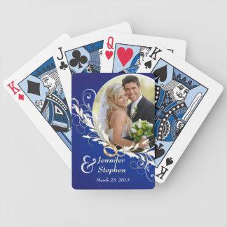 Vintages blaues Strudel-Hochzeits-Foto-Spielkarten Poker Karten
