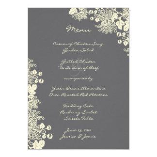 Vintages Blumen-Holzkohlen-Grau-Hochzeits-Menü 12,7 X 17,8 Cm Einladungskarte