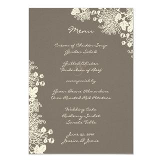 Vintages Blumen-Treibholz-graues Hochzeits-Menü 12,7 X 17,8 Cm Einladungskarte