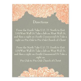 Vintages Blumenchrysantheme-Grau und Pfirsich 10,8 X 14 Cm Einladungskarte