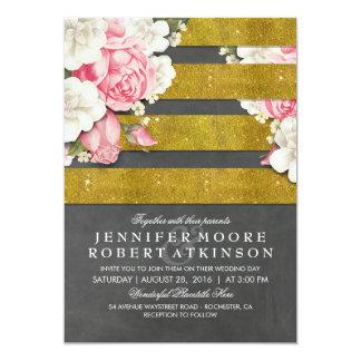 Vintages Blumengold Stripes Hochzeit im Herbst Karte