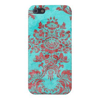 Vintages Blumenmuster-Geschenk-rotes Blau 2 iPhone 5 Schutzhüllen